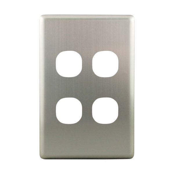 Stainless Steel Cover Plate 4 Gang | Suits BASIX S Series