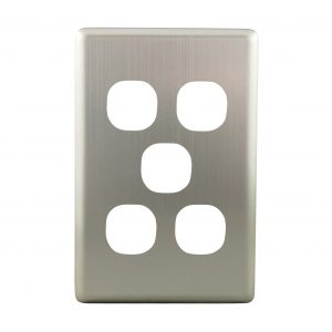 Stainless Steel Cover Plate 5 Gang | Suits BASIX S Series