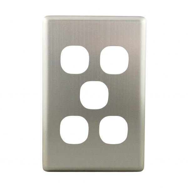Stainless Steel Cover Plate 5 Gang   Suits BASIX S Series