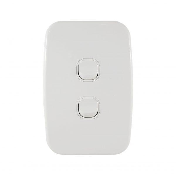 Light Switch 2 Gang Vertical 10A   LUNA Series   Connected Switchgear