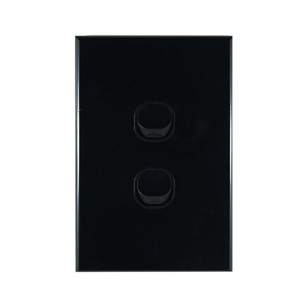 GEO Series 2 Gang Light Switch BLACK 10A 240V AC