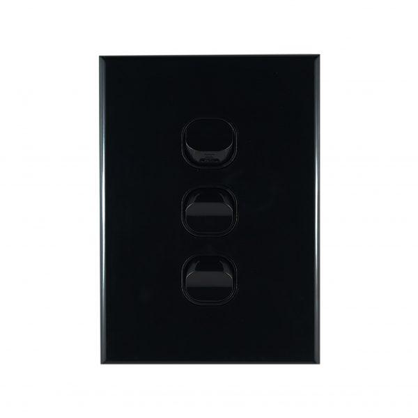 GEO Series 3 Gang Light Switch BLACK 10A 250V AC
