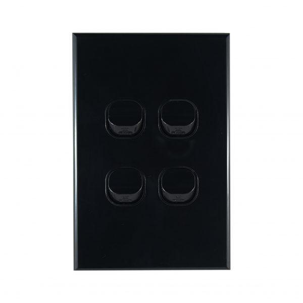 GEO Series 4 Gang Light Switch BLACK 10A 250V AC