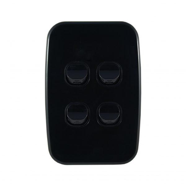 Light Switch 4 Gang Vertical Black 10A | LUNA Series