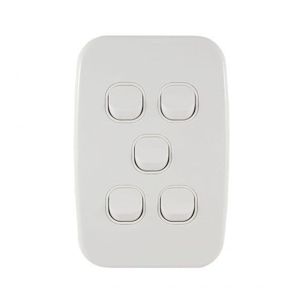 Light Switch 5 Gang Vertical 10A   LUNA Series