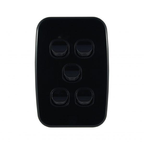 Light Switch 5 Gang Vertical Black 10A   LUNA Series