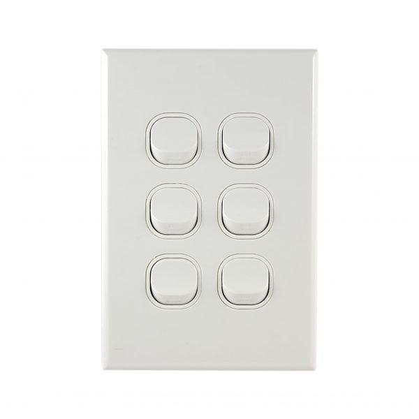GEO Series 6 Gang Light Switch 10A 250V AC