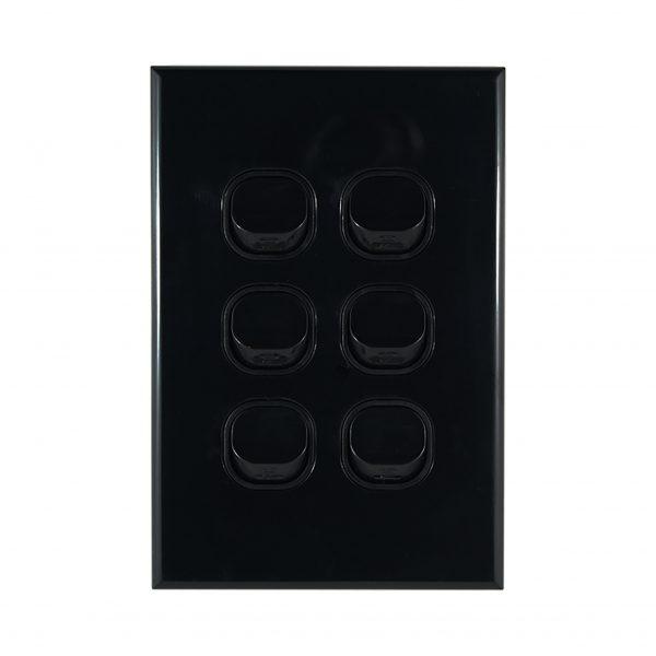 GEO Series 6 Gang Light Switch BLACK 10A 250V AC