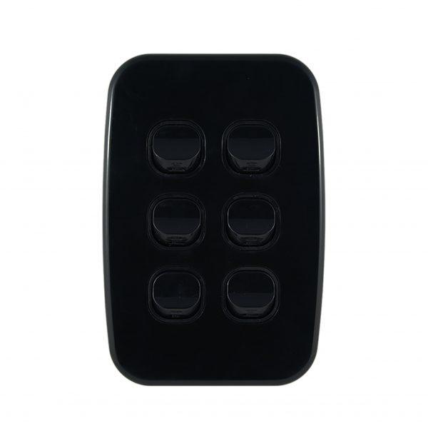 Light Switch 6 Gang Vertical Black 10A | LUNA Series