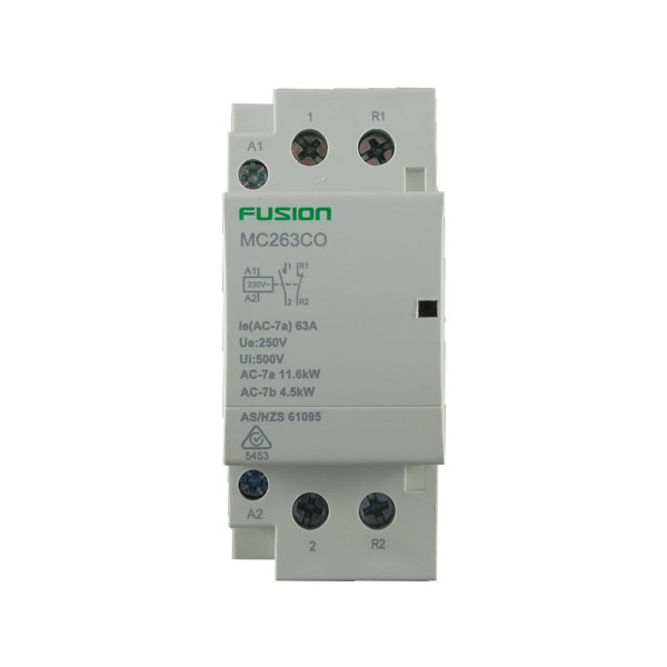modular contactor 2 pole 63amp 1no 1 nc
