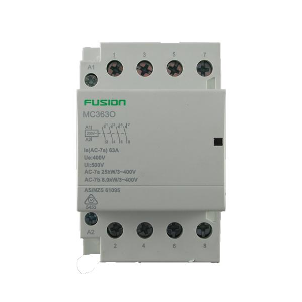 modular contactor 4 pole 63amp 4no