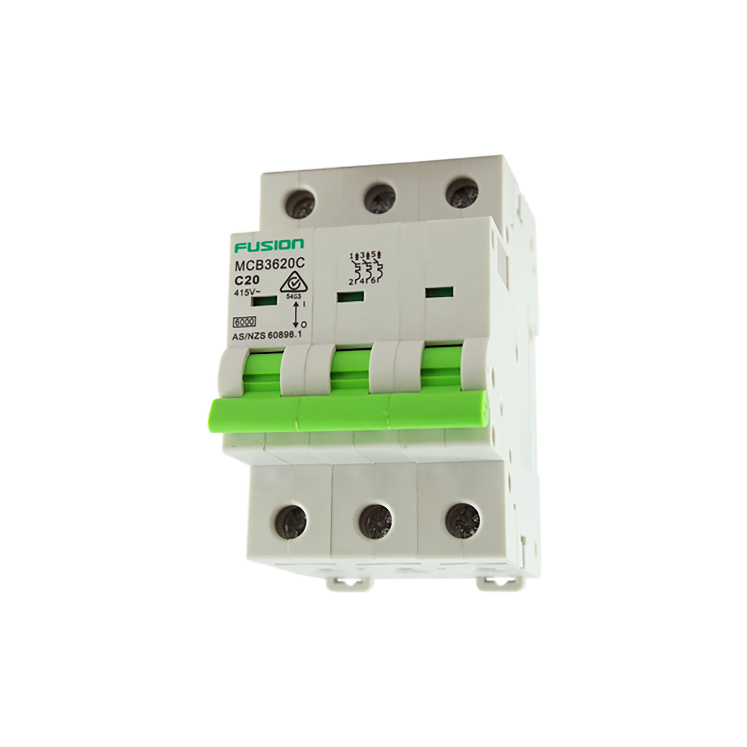 10A 3 Pole Circuit Breaker 6kA C Curve mcb3610c