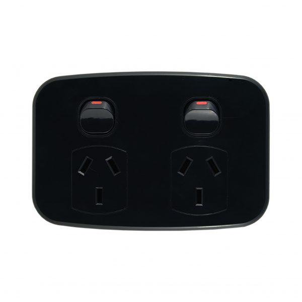 LUNA Series Double Power Point 10A 250V AC BLACK
