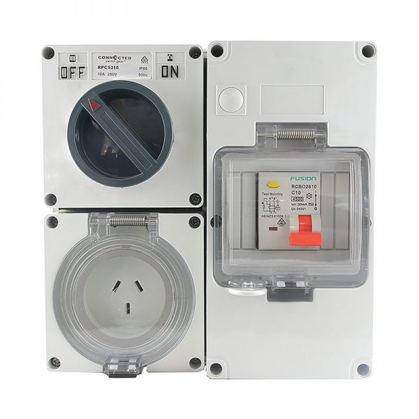 RCD Protected Outlet 10A 3 Pin 250V AC IP66