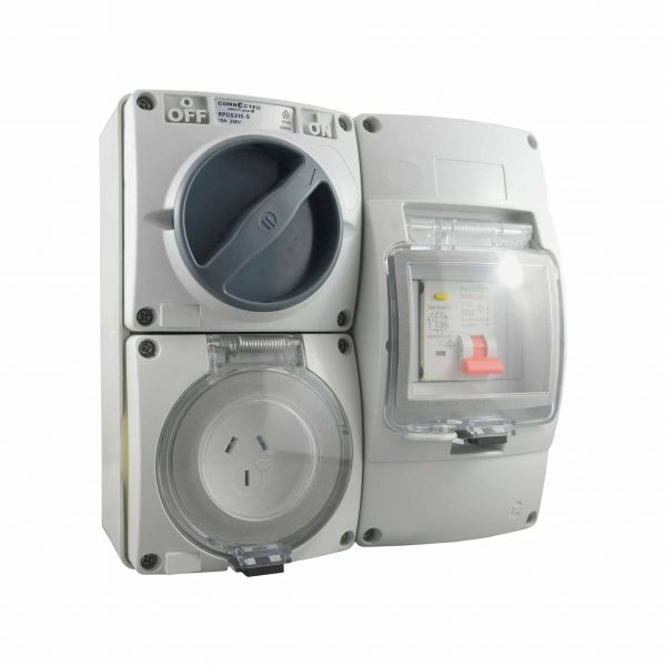 RCD Protected Outlet   Combination Switched Socket 3 Pin 15A IP66