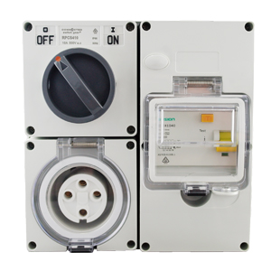 RCD Protected Outlet 10A 4 Pin 500V AC IP66