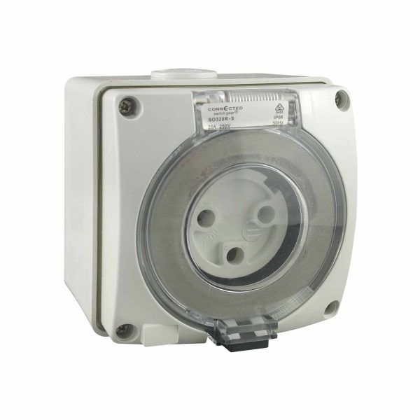 Socket Outlet 3 Pin 32A 250V AC IP66 IMPACT S Round Pin
