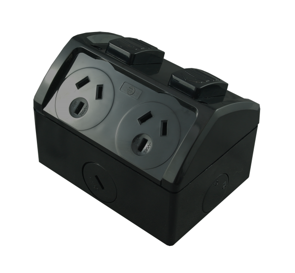 Double Weatherproof GPO Black 10A 250V AC IP53 Integrated