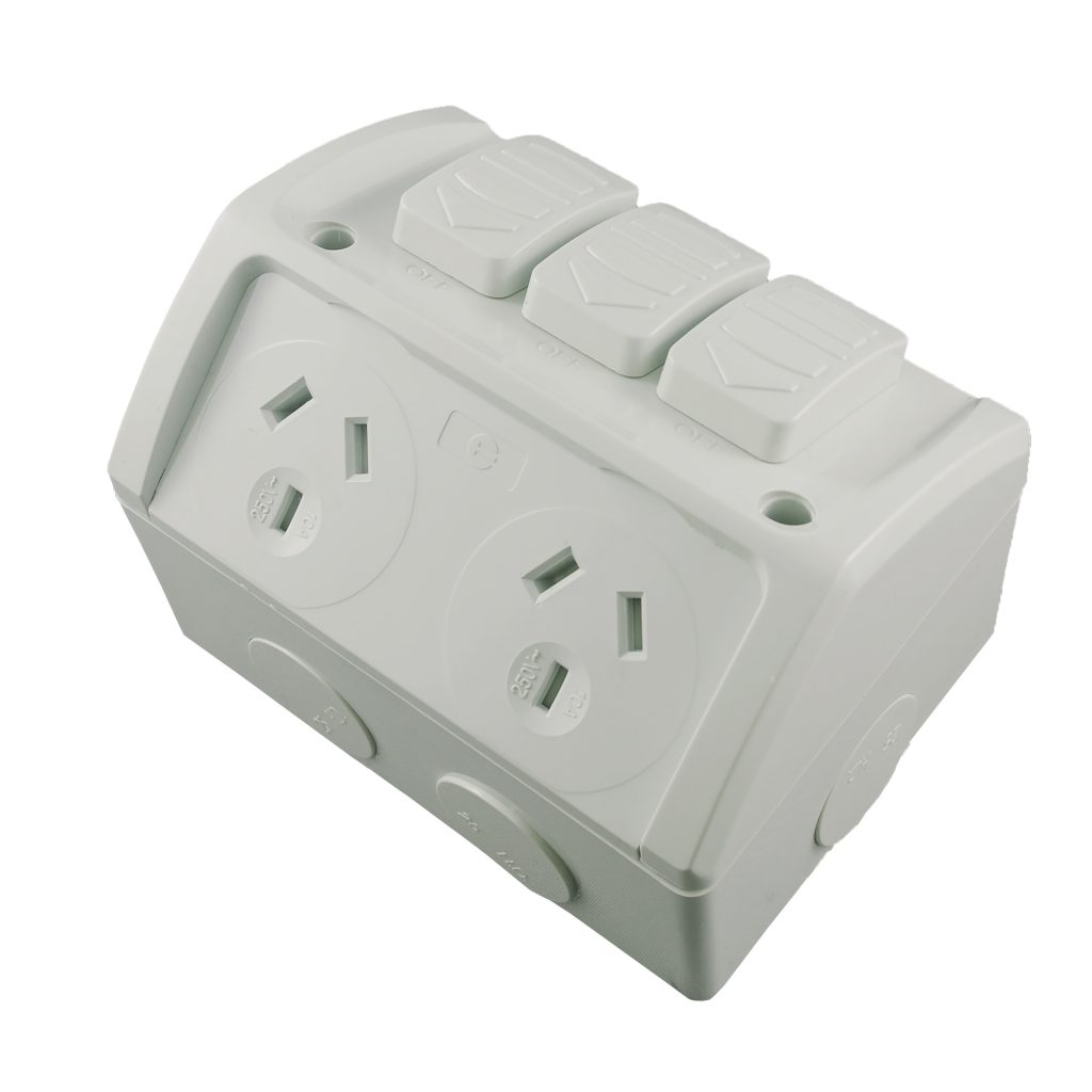 Double Weatherproof Socket Outlet 10a With Extra Switch