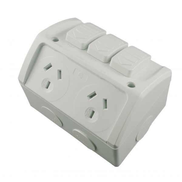 Double Weatherproof GPO with Extra Switch 10A 250V