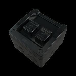 2 Gang Weatherproof Switch New Style 16A 250V AC IP53 BLACK